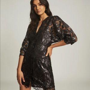 Reiss - Kaya Metallic Floral Lace Dress Silver
